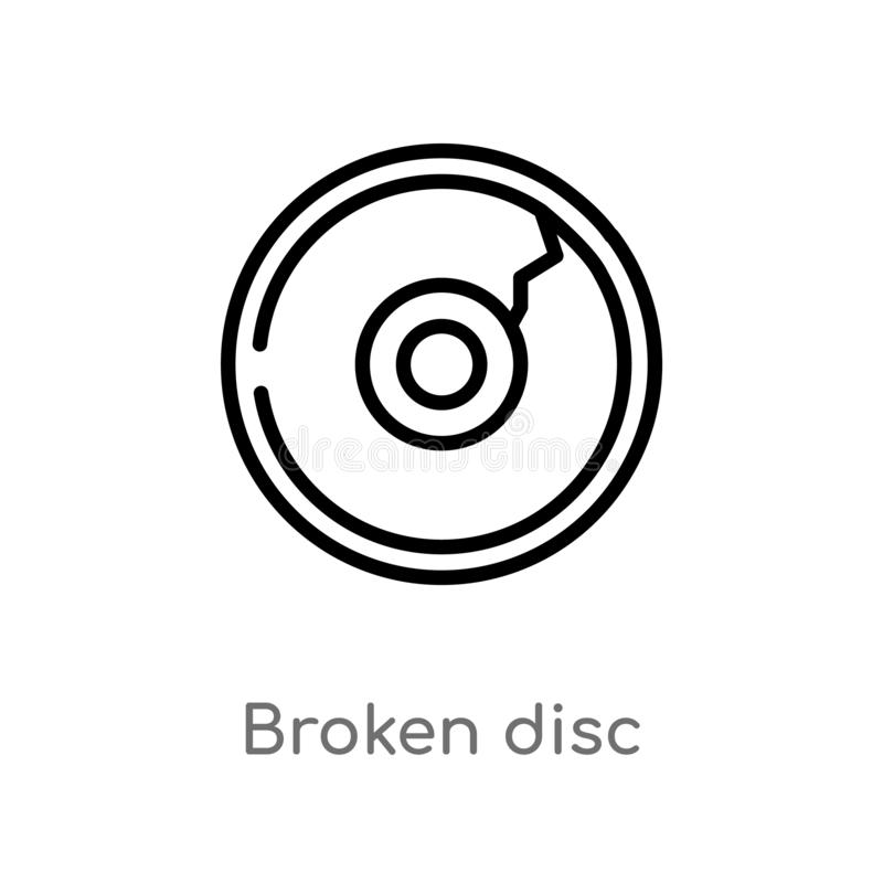outline broken disc vector icon. isolated black simple line element illustration from multimedia concept. editable vector stroke vector illustration