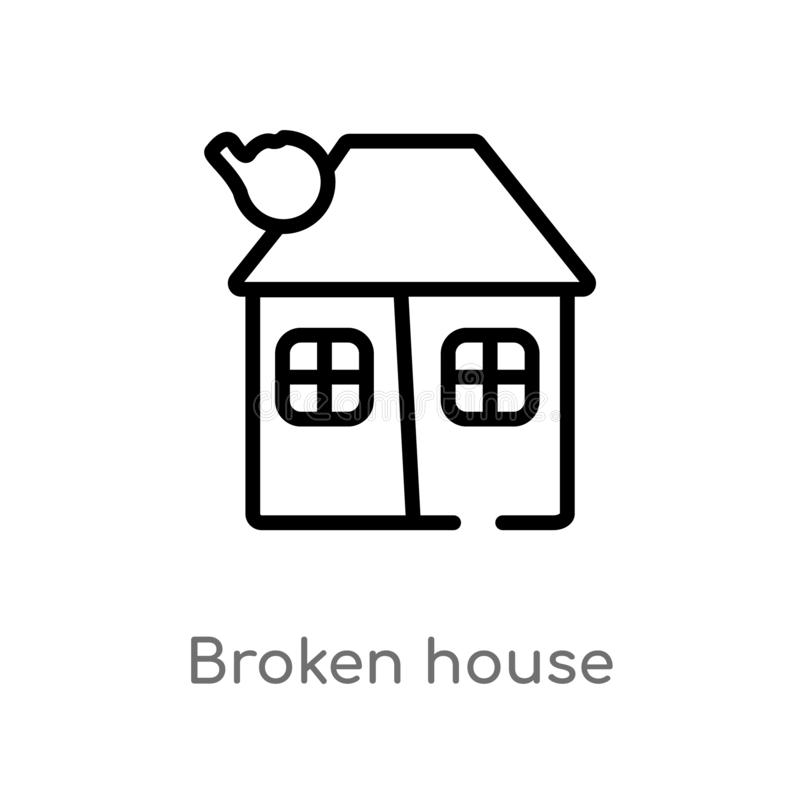 Outline broken house vector icon. isolated black simple line element illustration from meteorology concept. editable vector stroke. Broken house icon on white vector illustration