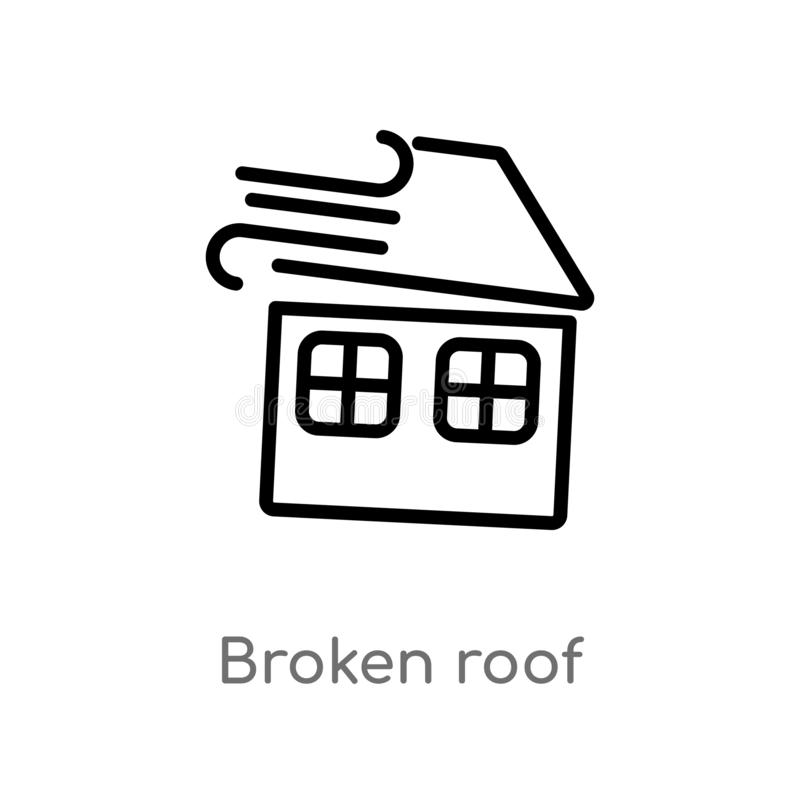 Outline broken roof vector icon. isolated black simple line element illustration from meteorology concept. editable vector stroke. Broken roof icon on white royalty free illustration