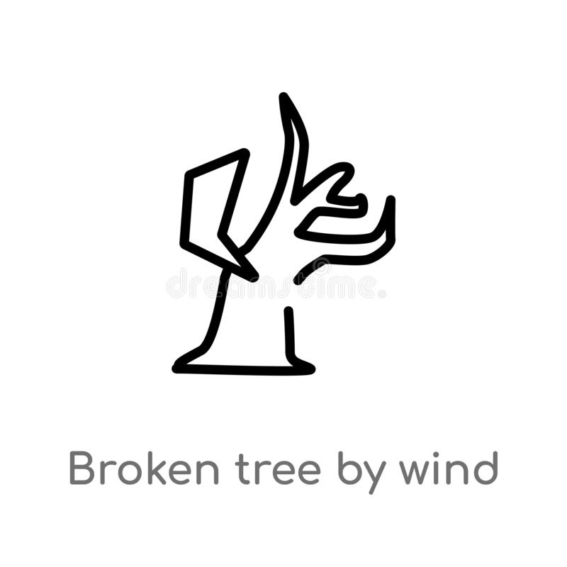 Outline broken tree by wind vector icon. isolated black simple line element illustration from meteorology concept. editable vector. Stroke broken tree by wind stock illustration