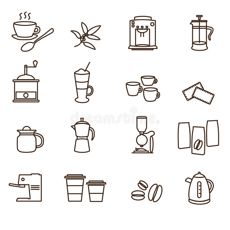 Outline brown simple coffee icons set royalty free illustration