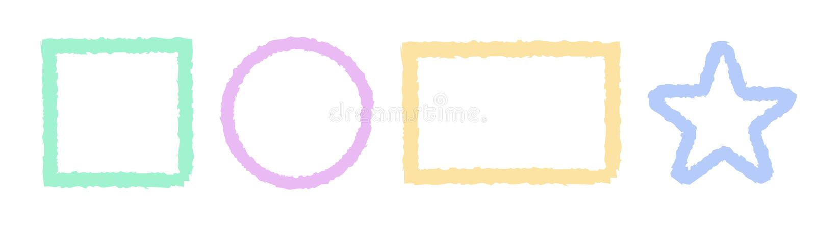 Outline Brush Shapes Logo Template Vector. Isolated stock illustration