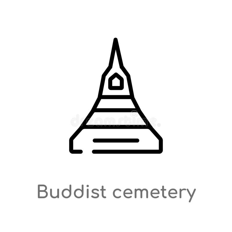 outline buddist cemetery vector icon. isolated black simple line element illustration from buildings concept. editable vector royalty free illustration