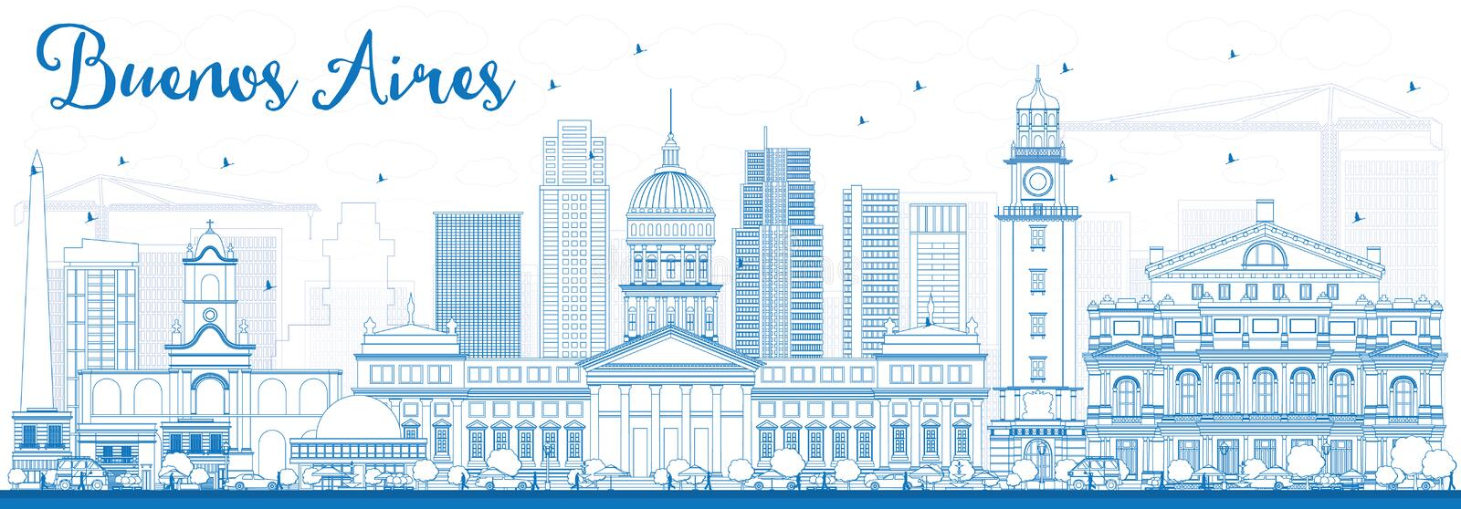 Outline Buenos Aires Skyline with Blue Landmarks. royalty free illustration