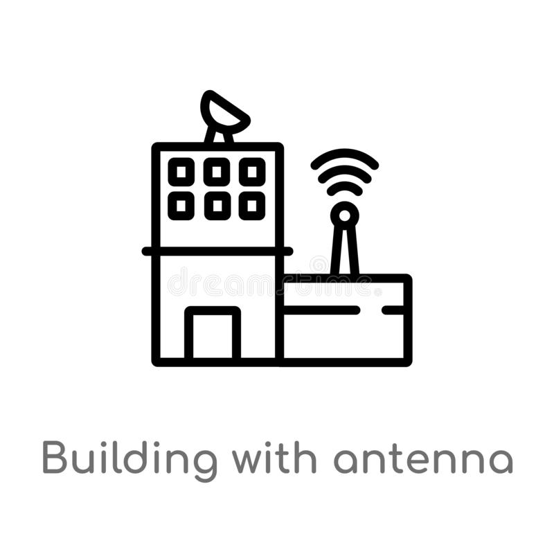 outline building with antenna vector icon. isolated black simple line element illustration from buildings concept. editable vector stock illustration
