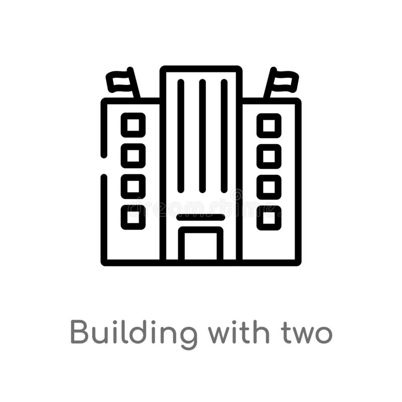 Outline building with two flags vector icon. isolated black simple line element illustration from buildings concept. editable. Vector stroke building with two stock illustration