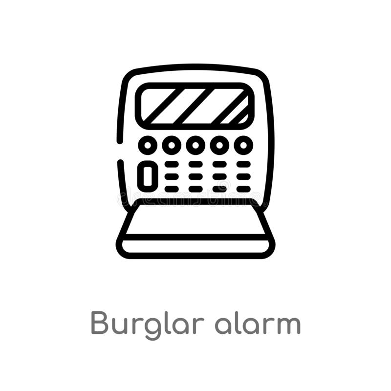Outline burglar alarm vector icon. isolated black simple line element illustration from electronic devices concept. editable. Vector stroke burglar alarm icon royalty free illustration