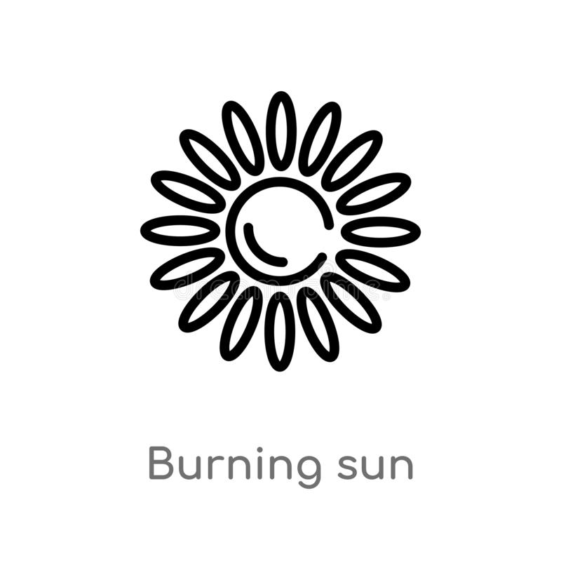 Outline burning sun vector icon. isolated black simple line element illustration from meteorology concept. editable vector stroke. Burning sun icon on white vector illustration