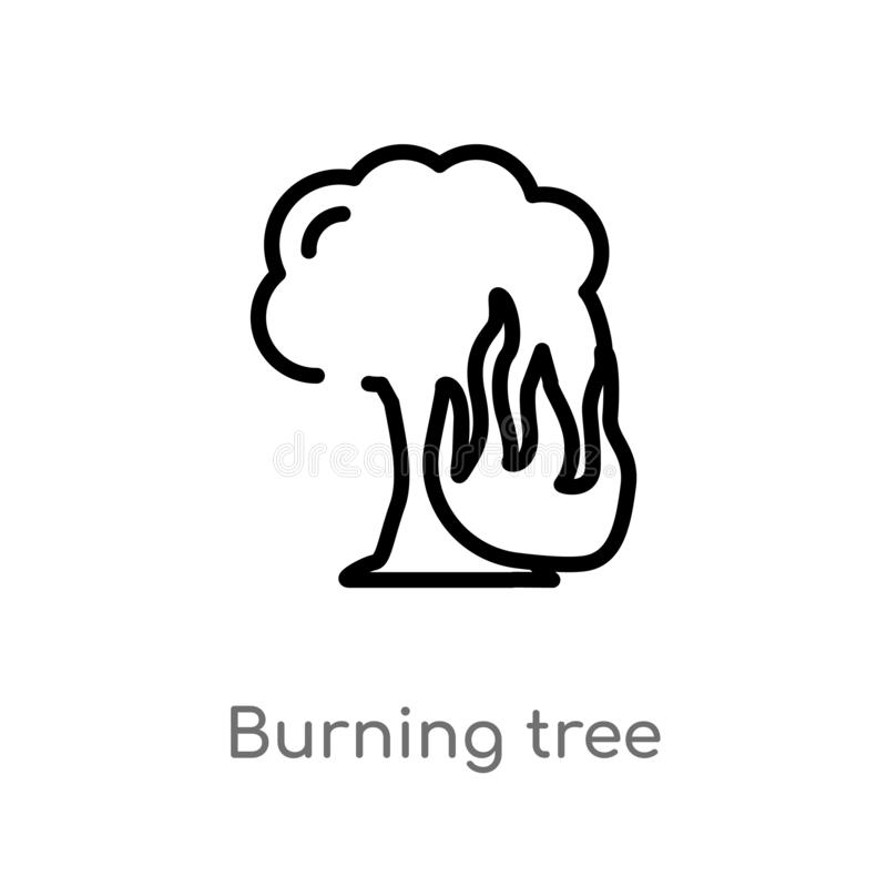 Outline burning tree vector icon. isolated black simple line element illustration from meteorology concept. editable vector stroke. Burning tree icon on white royalty free illustration