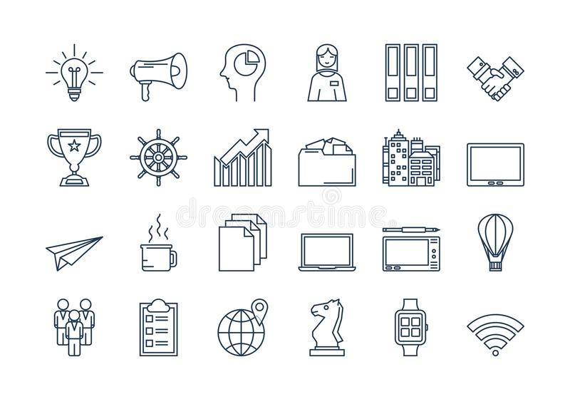 02 Outline BUSINESS icons set vector illustration