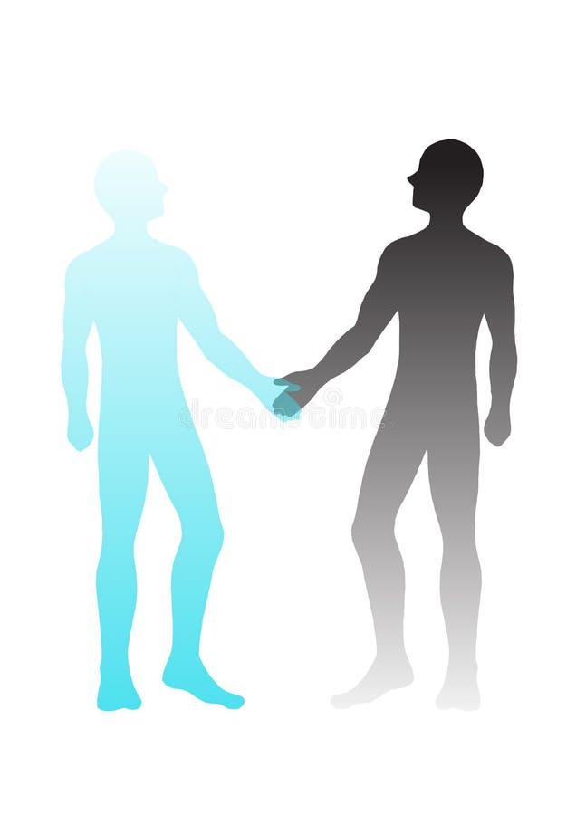 Outline business man shake hand isolated  hand drawn illustration stock illustration