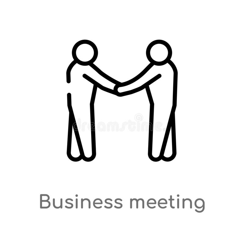 outline business meeting vector icon. isolated black simple line element illustration from humans concept. editable vector stroke vector illustration