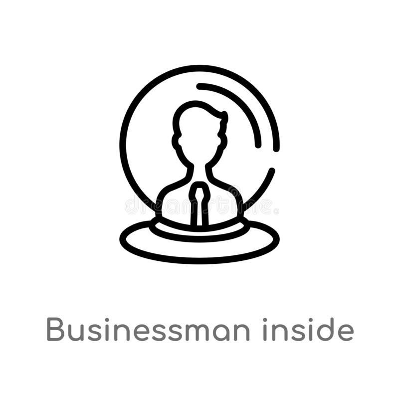 outline businessman inside a ball vector icon. isolated black simple line element illustration from business concept. editable vector illustration