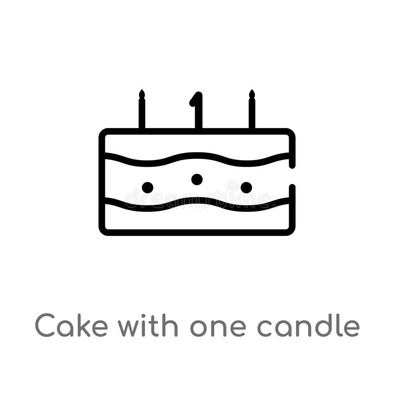Outline Cake With Three Candles Vector Icon . Isolated