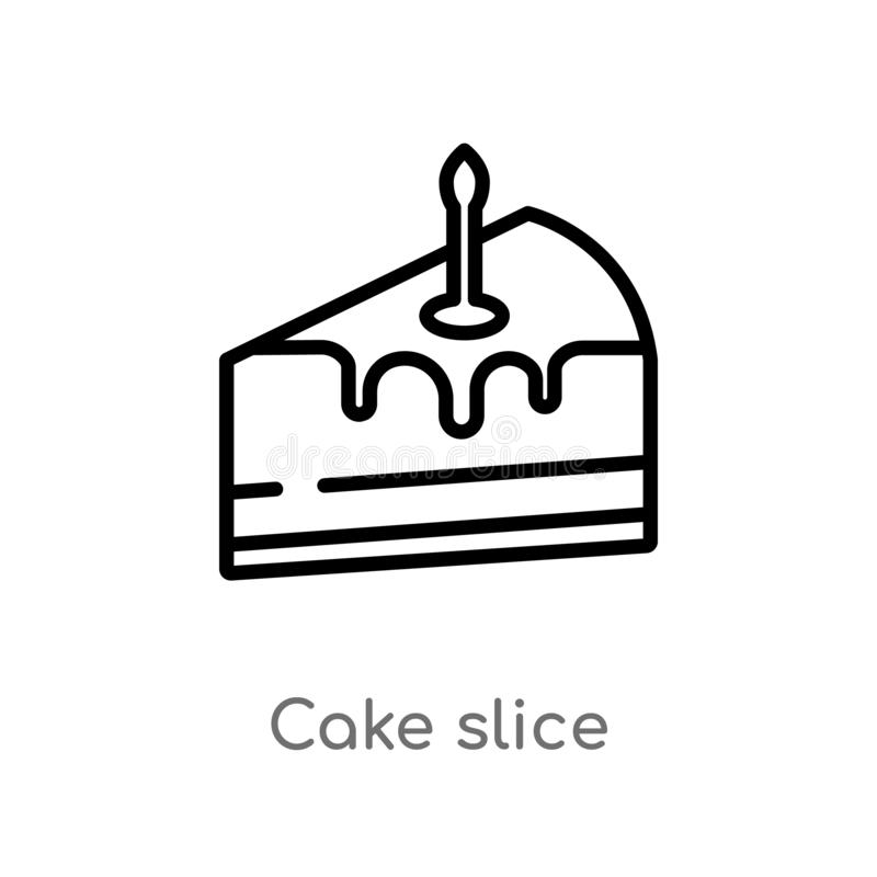 Outline cake slice vector icon. isolated black simple line element illustration from birthday party and wedding concept. editable. Vector stroke cake slice icon vector illustration