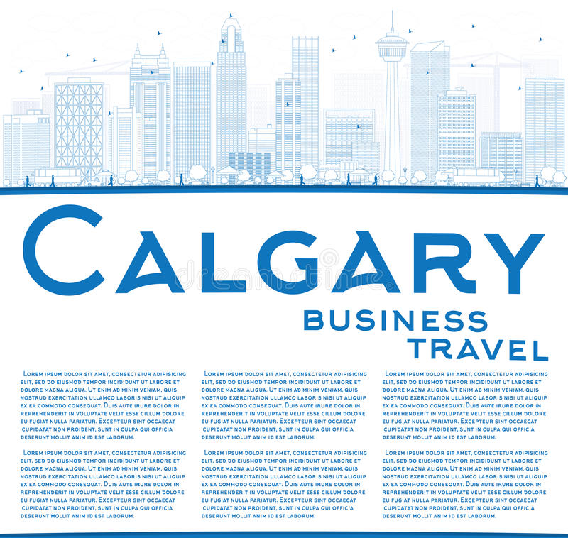 Outline Calgary Skyline with Blue Buildings and Copy Space. Vector Illustration. Business travel and tourism concept with place for text. Image for royalty free illustration