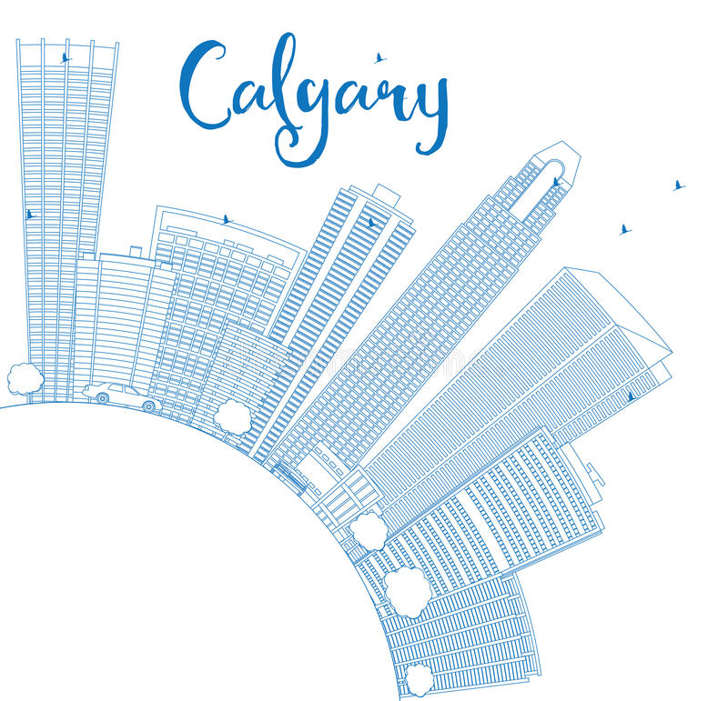 Outline Calgary Skyline with Blue Buildings and Copy Space. Vector Illustration. Business travel and tourism concept with place for text. Image for stock illustration
