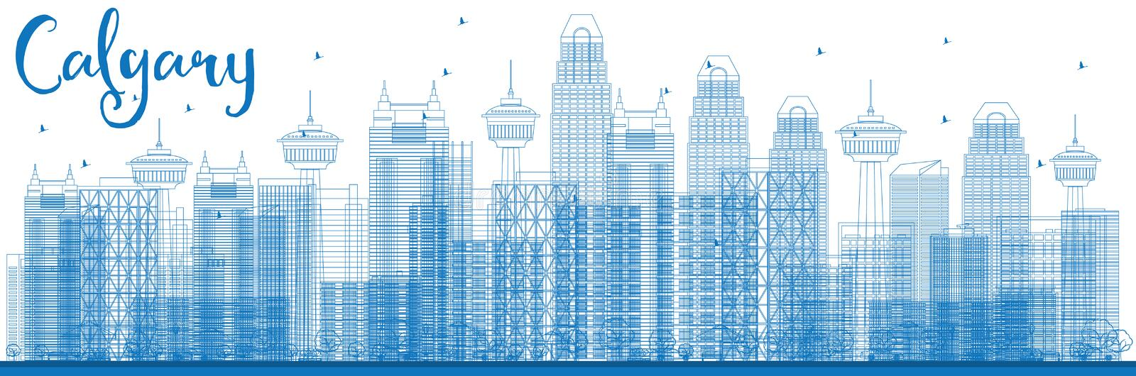 Outline Calgary Skyline with Blue Buildings. Vector Illustration. Business travel and tourism concept with modern buildings. Image for presentation, banner royalty free illustration