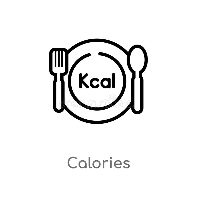 outline calories vector icon. isolated black simple line element illustration from food concept. editable vector stroke calories royalty free illustration
