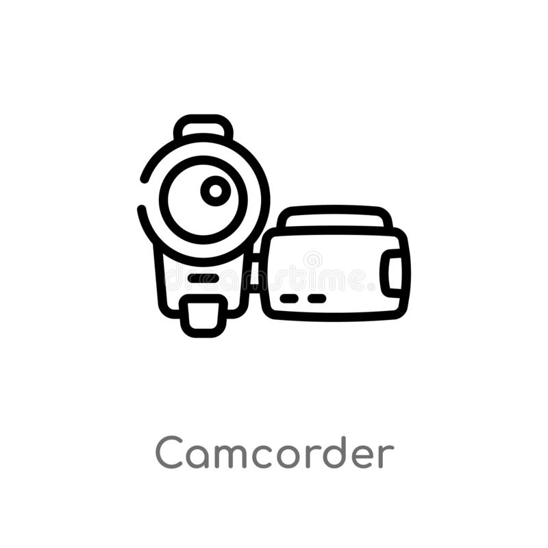 outline camcorder vector icon. isolated black simple line element illustration from blogger and influencer concept. editable stock illustration