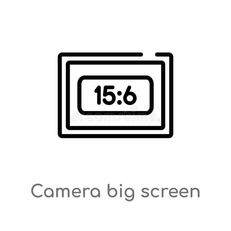 Outline camera big screen size vector icon. isolated black simple line element illustration from electronic stuff fill concept. Editable vector stroke camera royalty free illustration