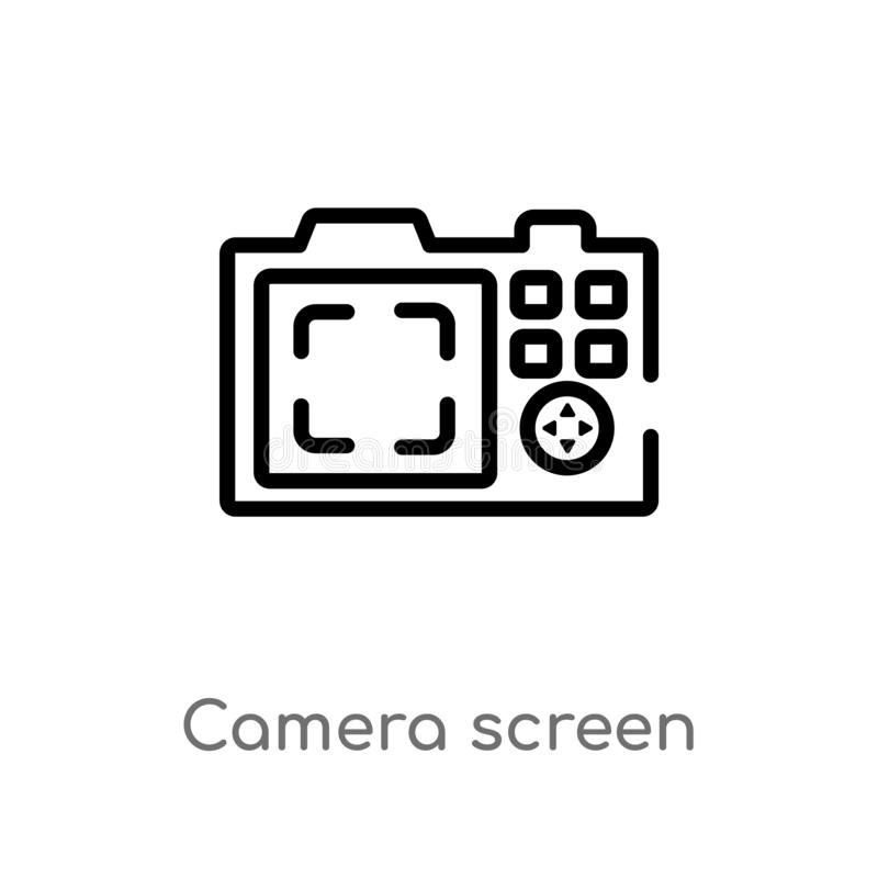 Outline camera screen vector icon. isolated black simple line element illustration from electronic stuff fill concept. editable. Vector stroke camera screen vector illustration