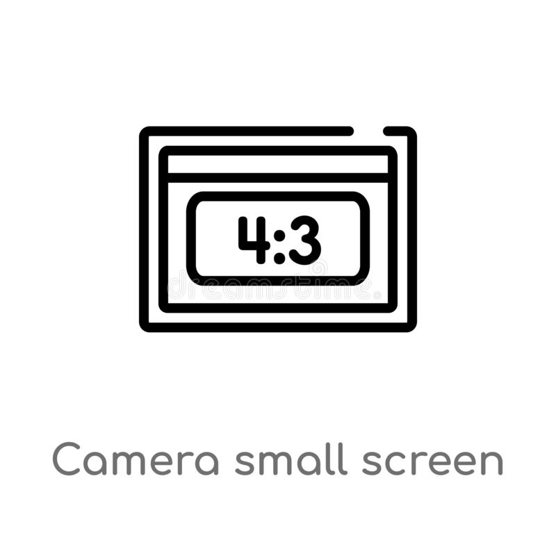 Outline camera small screen size vector icon. isolated black simple line element illustration from electronic stuff fill concept. Editable vector stroke camera vector illustration