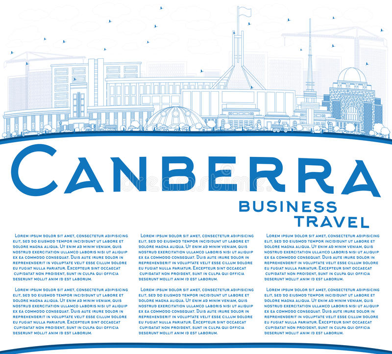 Outline Canberra Skyline with Blue Buildings and Copy Space. vector illustration