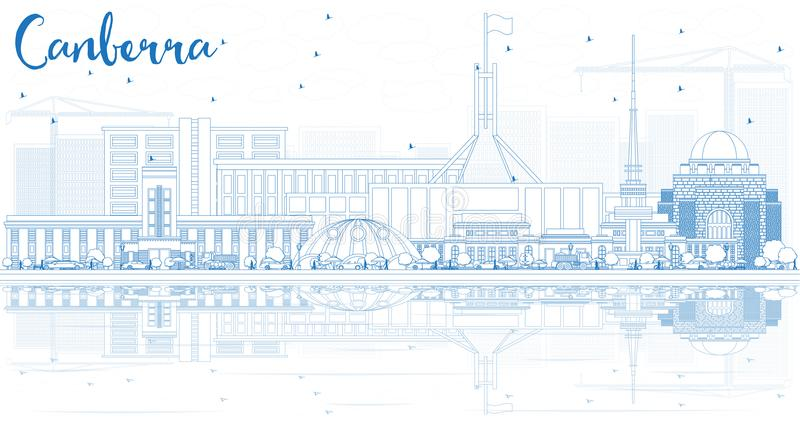 Outline Canberra Skyline with Blue Buildings and Reflections. royalty free illustration