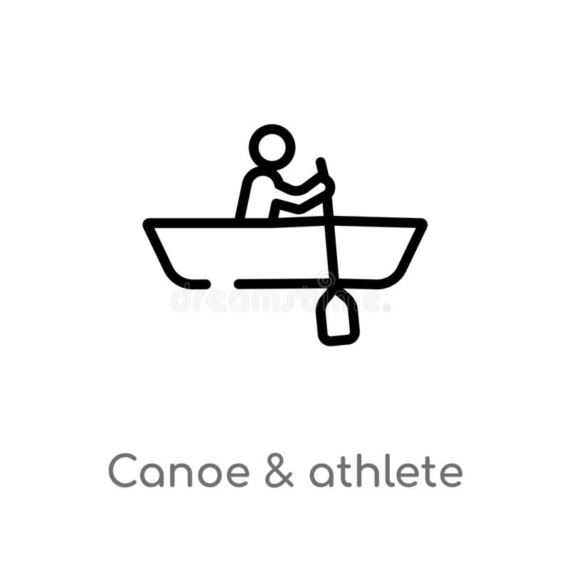 Outline canoe & athlete vector icon. isolated black simple line element illustration from transport concept. editable vector. Stroke canoe & athlete icon on royalty free illustration