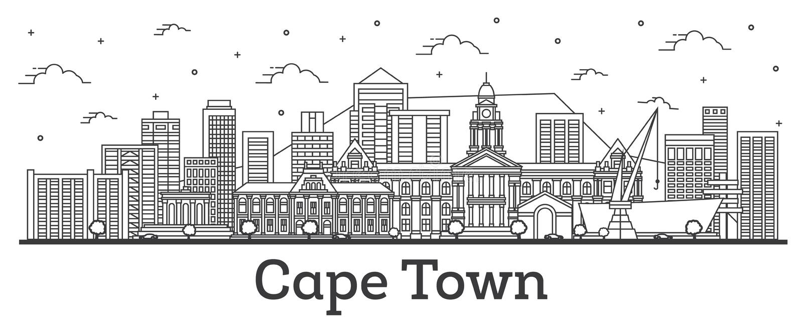 Outline Cape Town South Africa City Skyline with Modern Buildings Isolated on White stock illustration