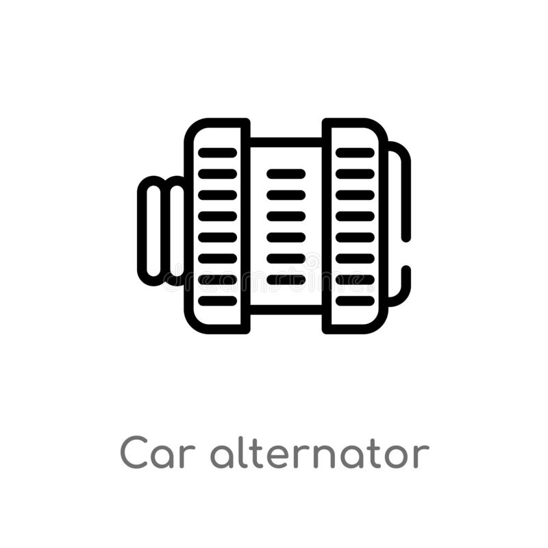 outline car alternator vector icon. isolated black simple line element illustration from car parts concept. editable vector stroke stock illustration