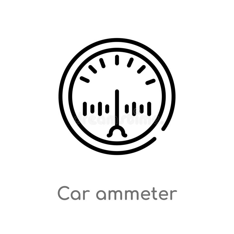 Outline car ammeter vector icon. isolated black simple line element illustration from car parts concept. editable vector stroke. Car ammeter icon on white royalty free illustration