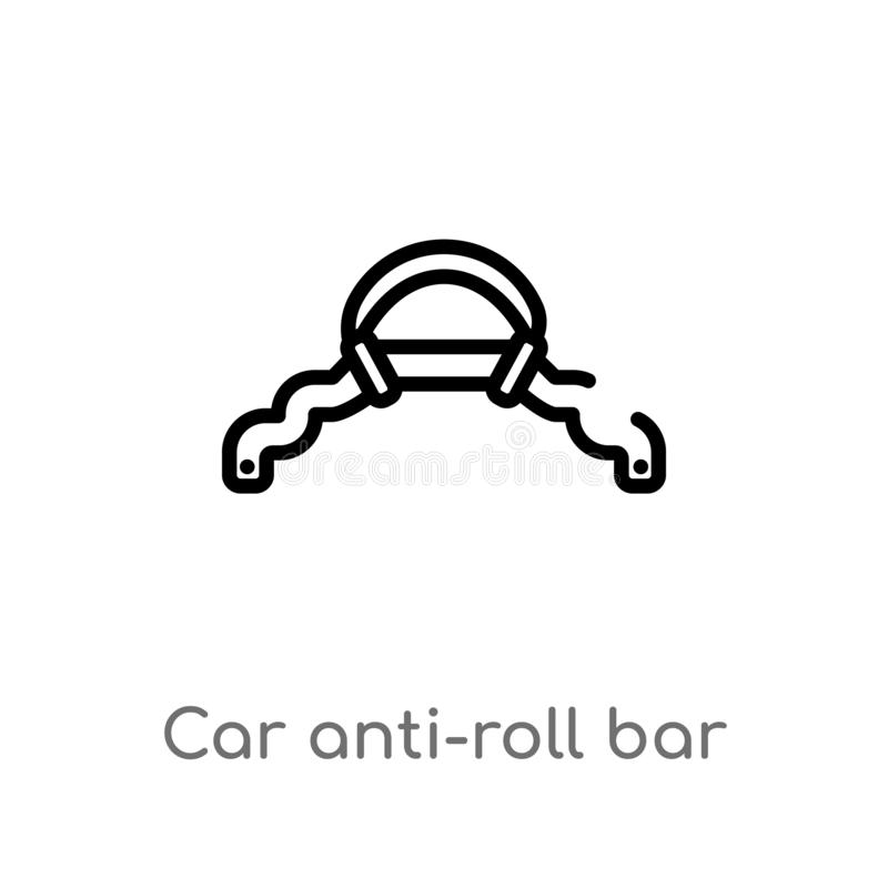 Outline car anti-roll bar vector icon. isolated black simple line element illustration from car parts concept. editable vector. Stroke car anti-roll bar icon on vector illustration