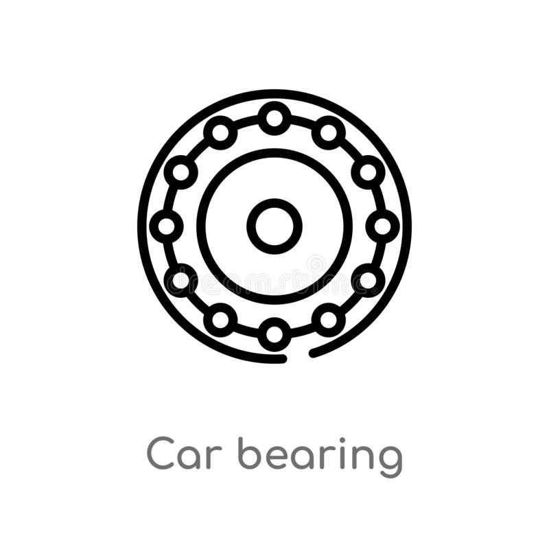 Outline car bearing vector icon. isolated black simple line element illustration from car parts concept. editable vector stroke. Car bearing icon on white royalty free illustration