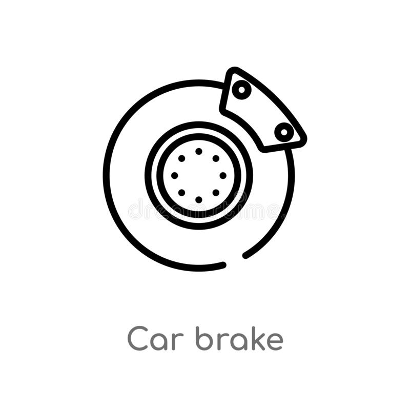 outline car brake vector icon. isolated black simple line element illustration from car parts concept. editable vector stroke car royalty free illustration