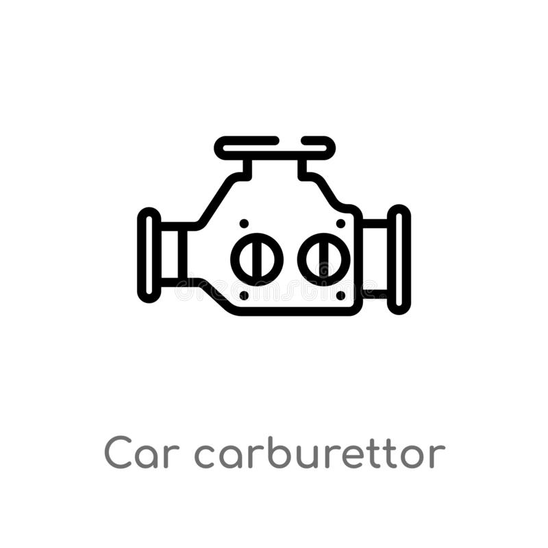 Outline car carburettor vector icon. isolated black simple line element illustration from car parts concept. editable vector. Stroke car carburettor icon on royalty free illustration