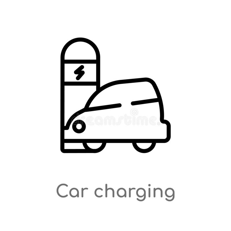Outline car charging vector icon. isolated black simple line element illustration from transport concept. editable vector stroke. Car charging icon on white royalty free illustration