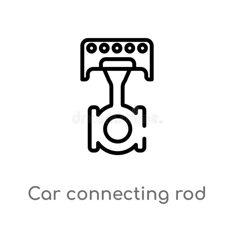 Outline car connecting rod vector icon. isolated black simple line element illustration from car parts concept. editable vector. Stroke car connecting rod icon vector illustration