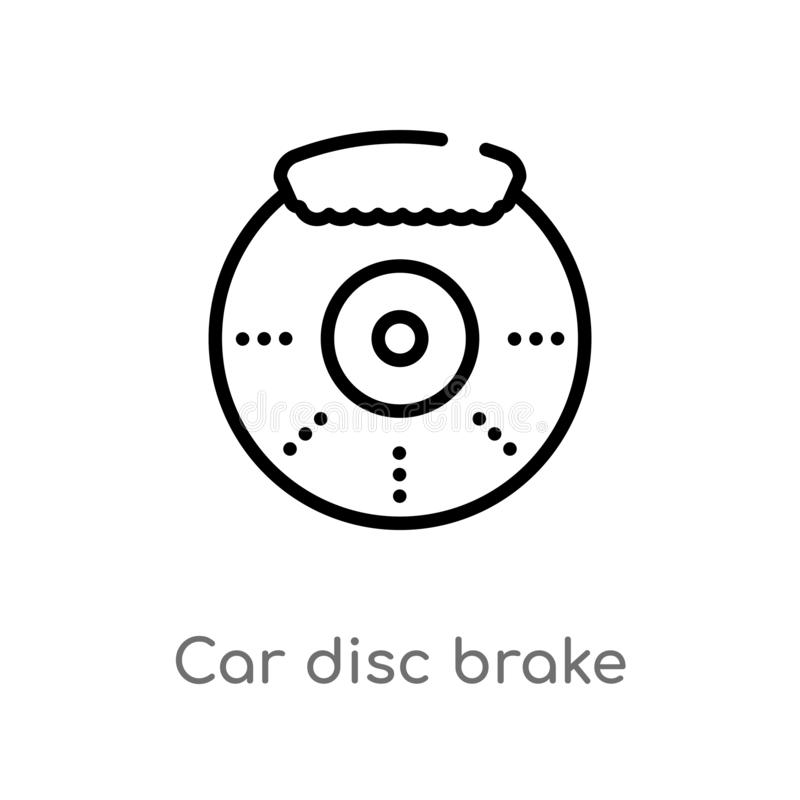 outline car disc brake vector icon. isolated black simple line element illustration from car parts concept. editable vector stroke stock illustration