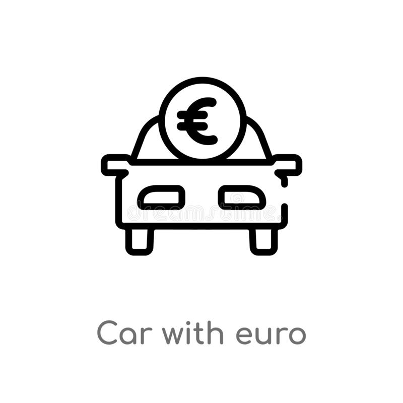 Outline car with euro vector icon. isolated black simple line element illustration from mechanicons concept. editable vector. Stroke car with euro icon on white royalty free illustration