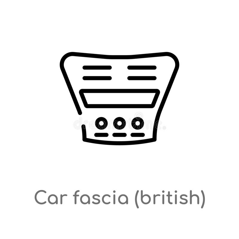 Outline car fascia (british) vector icon. isolated black simple line element illustration from car parts concept. editable vector. Stroke car fascia (british) royalty free illustration