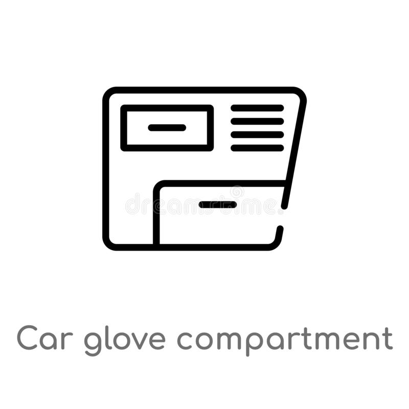 Outline car glove compartment vector icon. isolated black simple line element illustration from car parts concept. editable vector. Stroke car glove compartment vector illustration