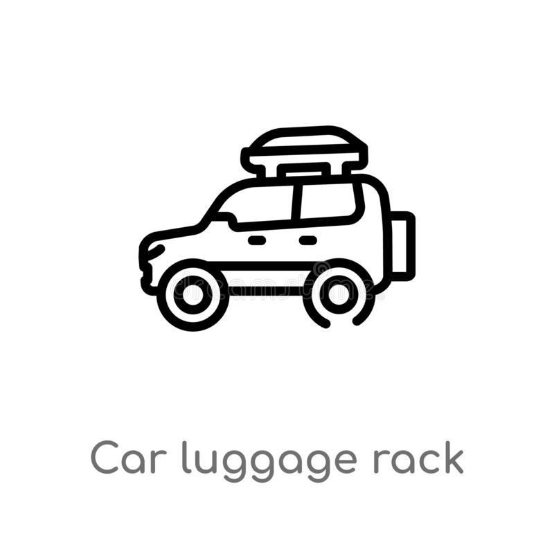 Outline car luggage rack vector icon. isolated black simple line element illustration from car parts concept. editable vector. Stroke car luggage rack icon on royalty free illustration