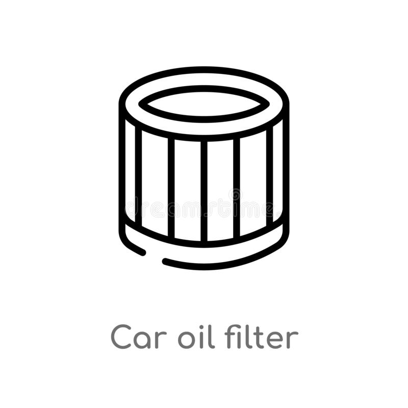 Outline car oil filter vector icon. isolated black simple line element illustration from car parts concept. editable vector stroke. Car oil filter icon on white royalty free illustration