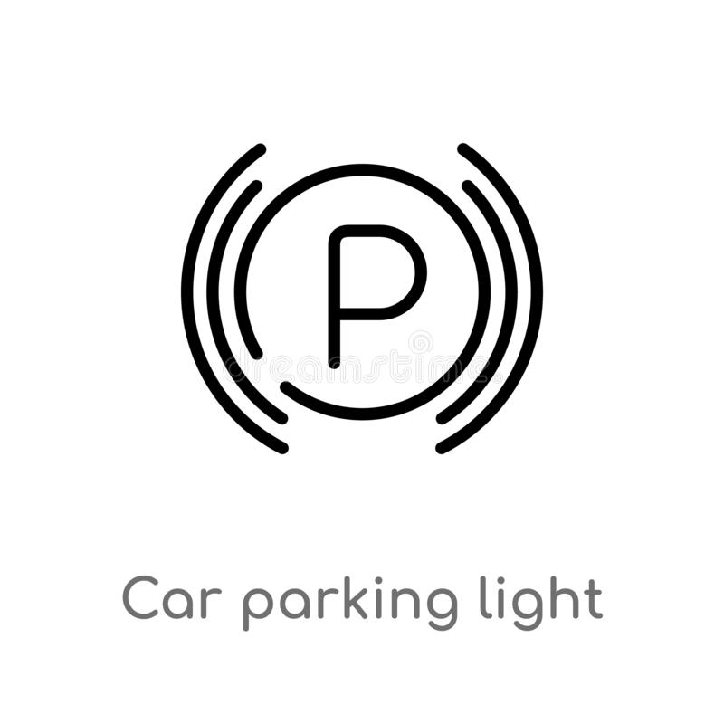 Outline car parking light vector icon. isolated black simple line element illustration from car parts concept. editable vector. Stroke car parking light icon on royalty free illustration