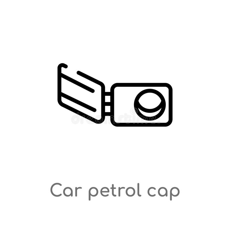 Outline car petrol cap vector icon. isolated black simple line element illustration from car parts concept. editable vector stroke. Car petrol cap icon on white vector illustration