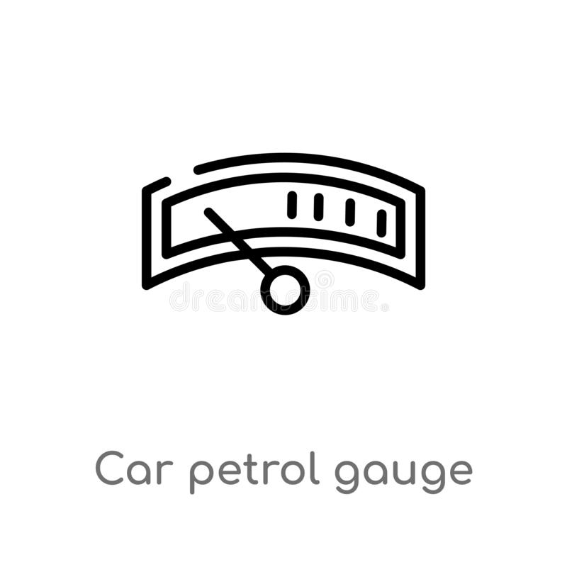Outline car petrol gauge vector icon. isolated black simple line element illustration from car parts concept. editable vector. Stroke car petrol gauge icon on stock illustration