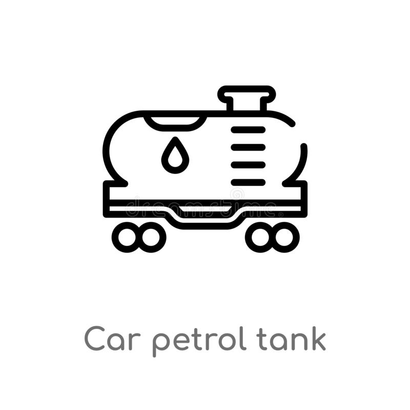 Outline car petrol tank vector icon. isolated black simple line element illustration from car parts concept. editable vector. Stroke car petrol tank icon on vector illustration
