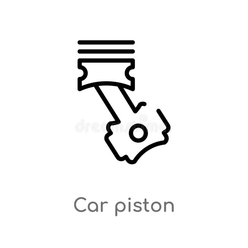 outline car piston vector icon. isolated black simple line element illustration from car parts concept. editable vector stroke car royalty free illustration